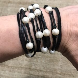 Chan Luu Leather & Pearls Bracelet or Necklace